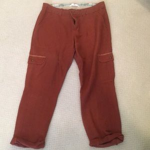 Brick Red Linen Cargo Pants (Anthropologie)